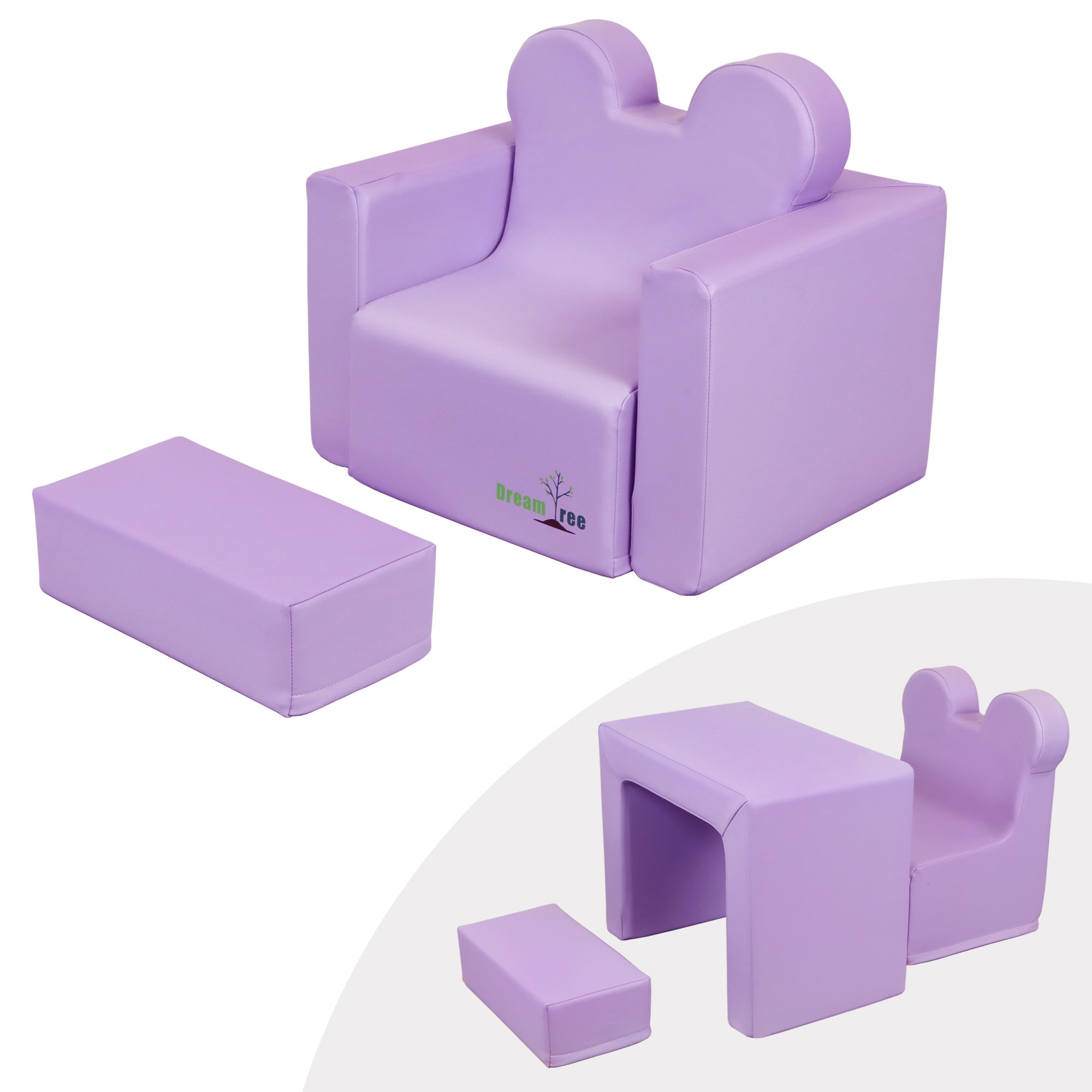 Dream Tree Toddler Table and Chair Set (Sofa Type) Washable, Safe Non-Toxic CPSIA Compliant Soft Foam Furniture for Baby, Kids, and Child - Lavender