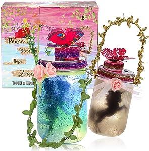 2 Music DIY Fairy and Unicorn Mason Jar Lantern Kit for Kids - Arts and Crafts Musical Fairy Night Light Garden Decor