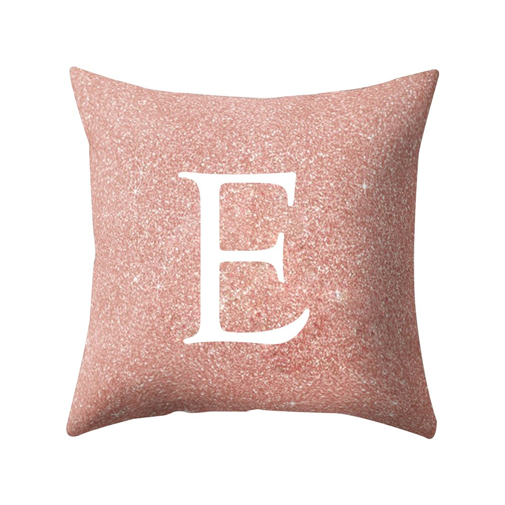 Quietcloud Pillow Cases Home Office Car A to Z Letter Pattern Decorative Cushion Cover Protectors Soft Comfortable size E (pink)