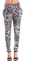 Ladies Black White Animal Print Pocket Leggings