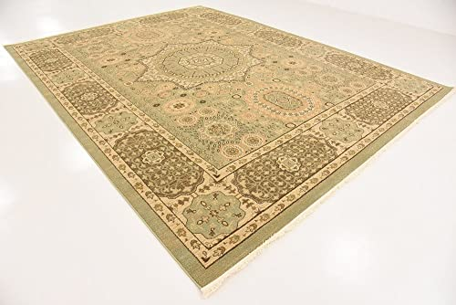 Unique Loom Palace Collection Traditoinal Geometric Classic Light Green Area Rug 9 0 x 12 0