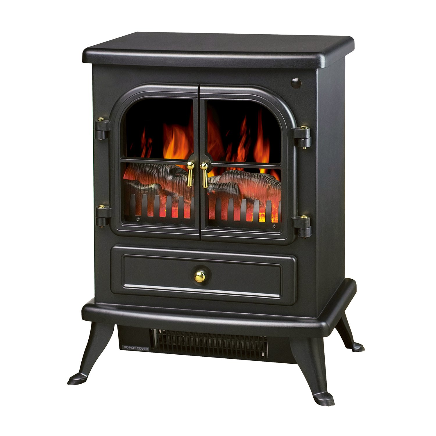 HomCom 17'' 1500W Free Standing Electric Fireplace w/Timer and Remote - Black