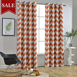 Melodieux Chevron Room Darkening Blackout Grommet Top Curtains, 52 by 84 Inch, Orange (1 Panel)