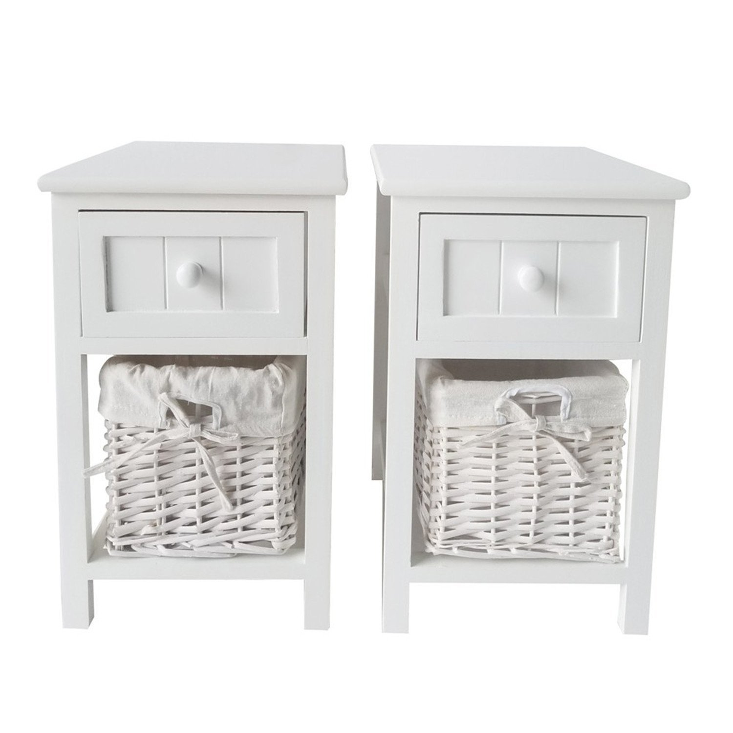 SHUTAO 2pcs Country Style Two-tier Night Tables with Drawer and Basket White