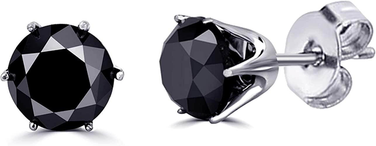 0.50ctw Round Black Diamond Single Stud in 925 Sterling Silver