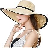 Jeff & Aimy Floppy Straw Sun Hat UPF 50 Wide Brim Beach Summer Hats Packable
