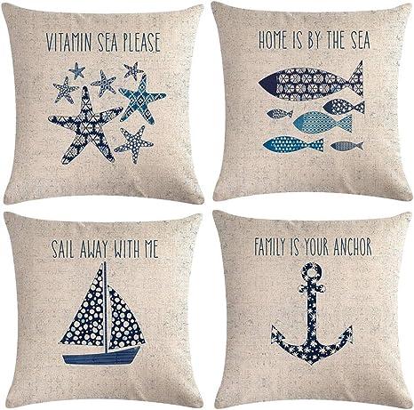 7colorroom Navigation Beach Style Throw Pillow Cover Sea Theme Coastal With Anchor Sailboat Fish Starfish Pillowcase Set Of 4 Nautical Decorative Cushion Cover 18 18 Beach 4 Amazon Ca Home Kitchen