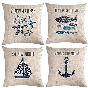 "7ColorRoom Navigation&Beach Style Throw Pillow Cover Sea Theme&Beach with Anchor/Sailboat/Fish/Starfish Pillowcase Set of 4 Nautical Decorative Cushion Cover 18""×18"" (Beach-4)"