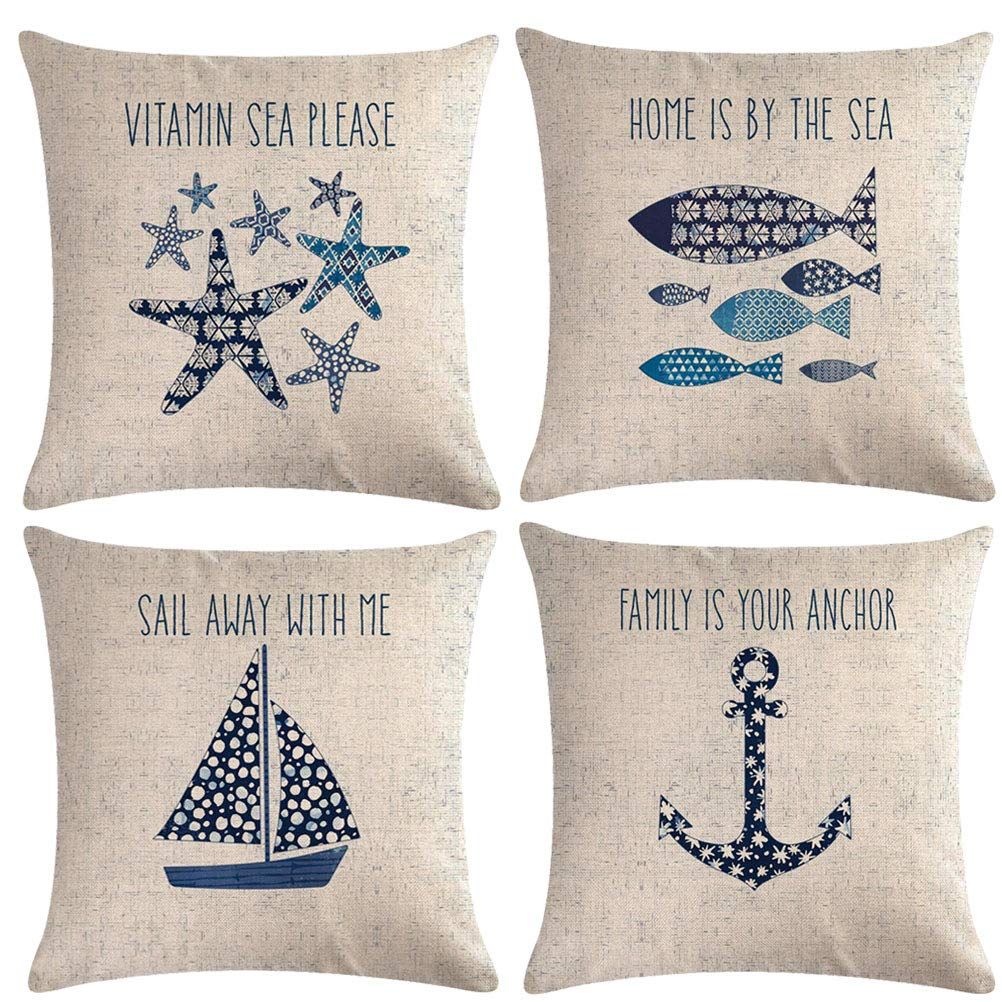 "7COLORROOM Navigation&Beach Style Throw Pillow Cover Sea Theme&Coastal with Anchor/Sailboat/Fish/Starfish Pillowcase Set of 4 Nautical Decorative Cushion Cover 18""×18"" (Beach-4)"