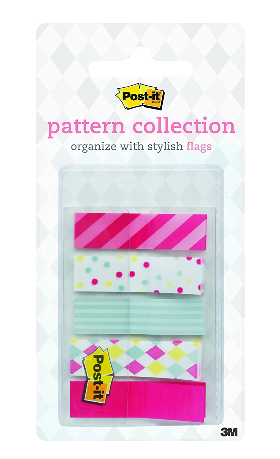 Post-it Pattern Flags, Carnival Pattern Collection, 0.47 x 1.7 Inches, 100/On-the-Go Dispenser, 1 Dispenser/Pack (684-CANDY) 3M Office Products