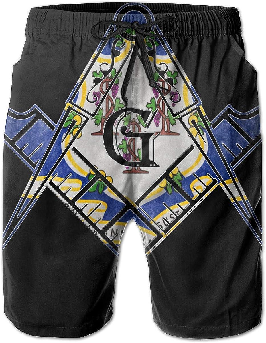 Connecticut Flag Mason Masonic Freemasons 3D Print Mens Beach Shorts Quick Dry Swim Trunks Workout Shorts Summer Shorts