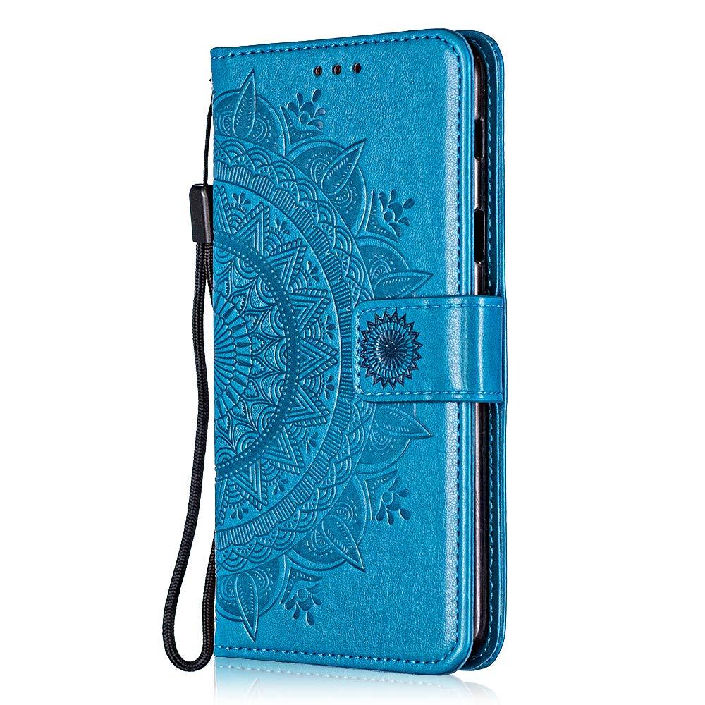 Coque Galaxy A6 Plus, Bear Village® Multi-Usage Étui en Cuir avec Fonction de Support, Magnetique Housse de Protection pour Samsung Galaxy A6 Plus (#4 Bleu)