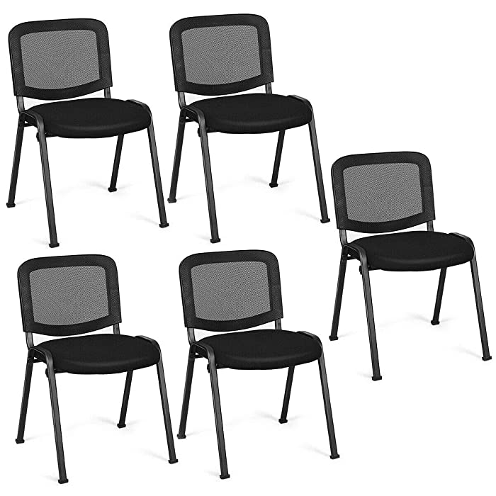 Giantex Set of 5 Conference Chair Elegant Design Stackable Office Waiting Room Guest Reception (32 H)