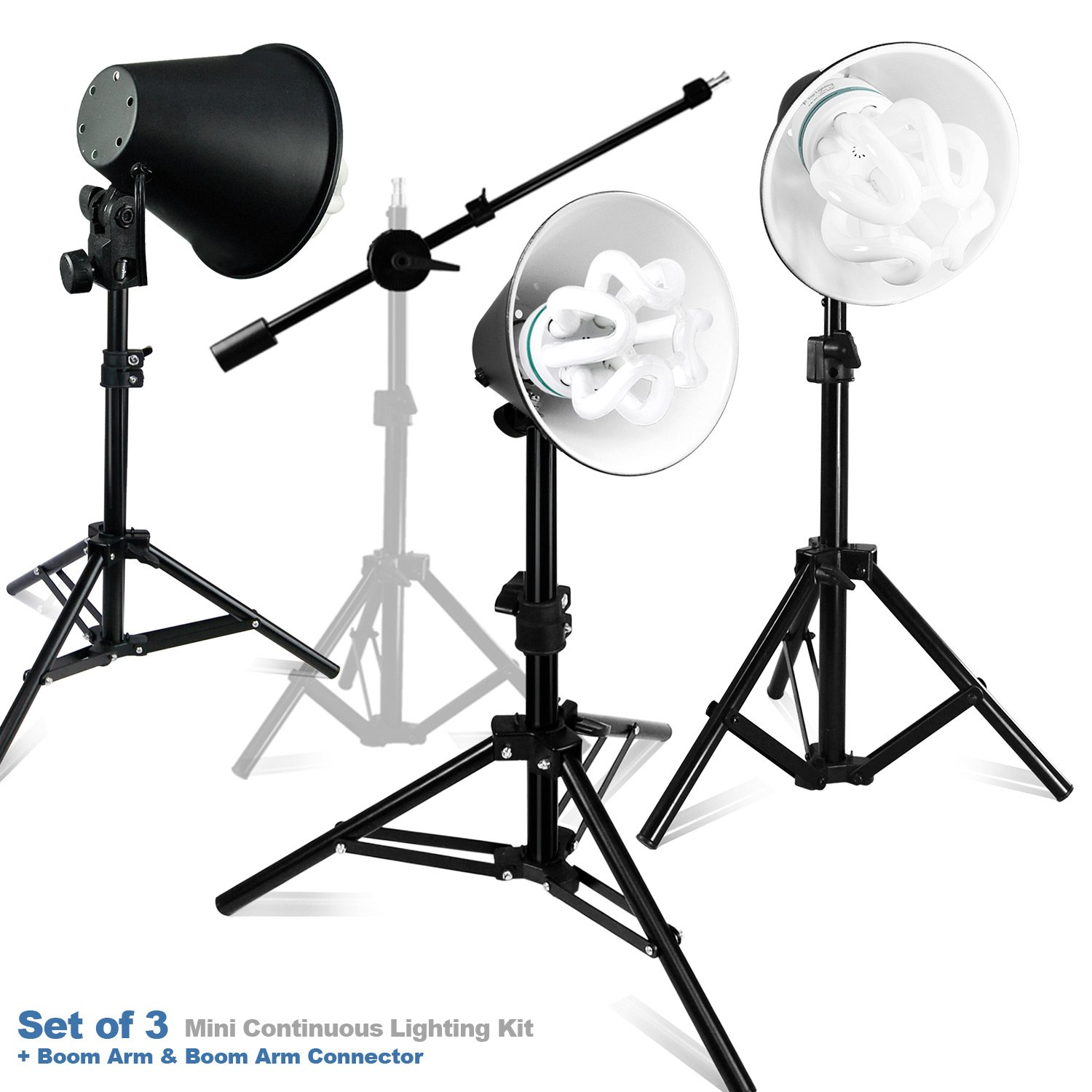 Julius Studio 50W-3 Light Stand Kits Photography Photography Table Top Photo Studio Lighting Kit and a Boom Stand, PR22_AM1