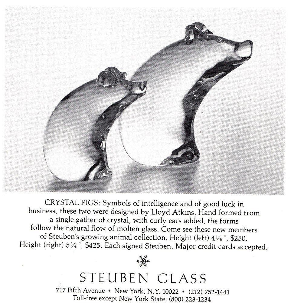 Amazon 1979 Steuben Glass Crystal Pigs Steuben Glass Print Ad