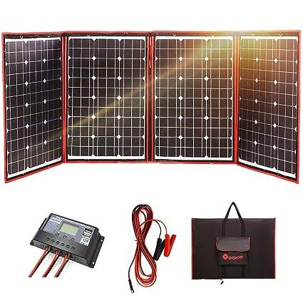 DOKIO - Panel Solar monocristalino Plegable de 200 W 12 V con Controlador de Carga inversor: Amazon.es: Jardín
