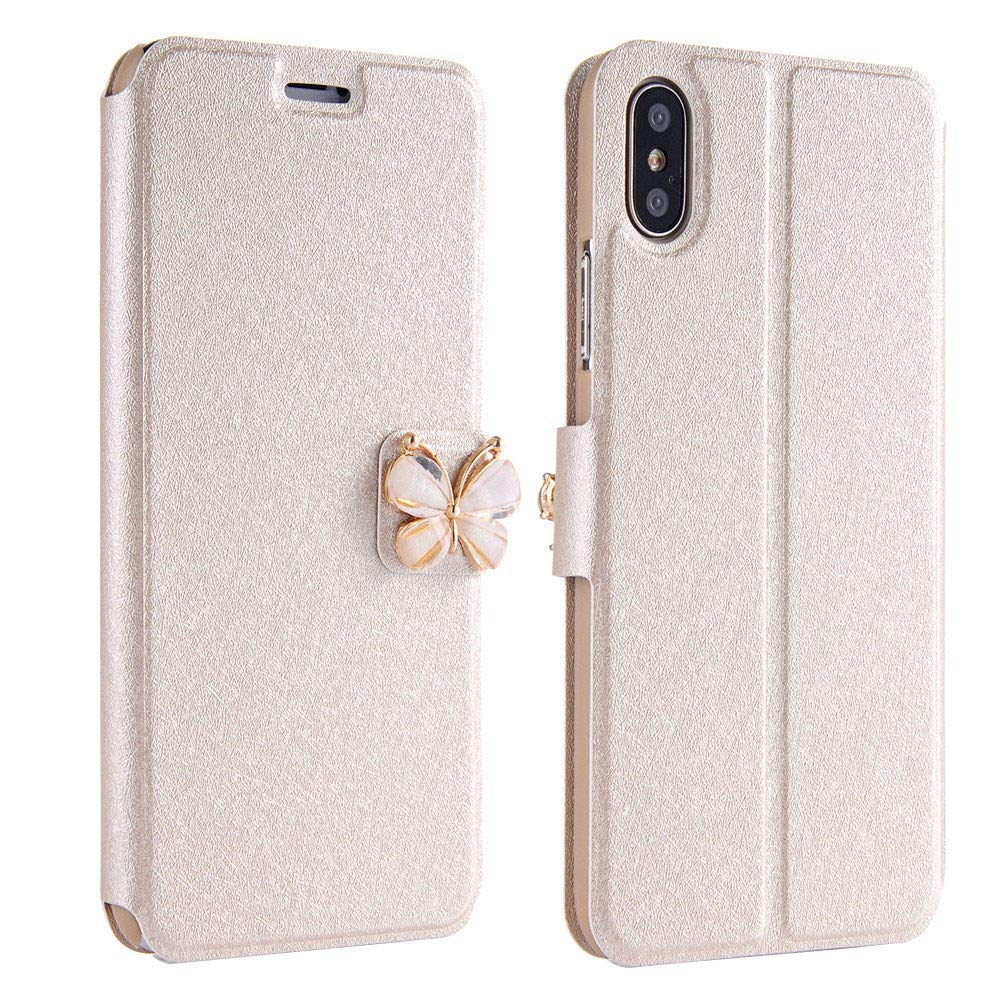 Kintaz Women Girls Flip Case Cover Leather Wallet Magnetic Case Cover Skin for iPhone Xs 5.8inch/Max 6.5inch/XR 6.1inch (iPhone Xs 5.8inch, Beige)