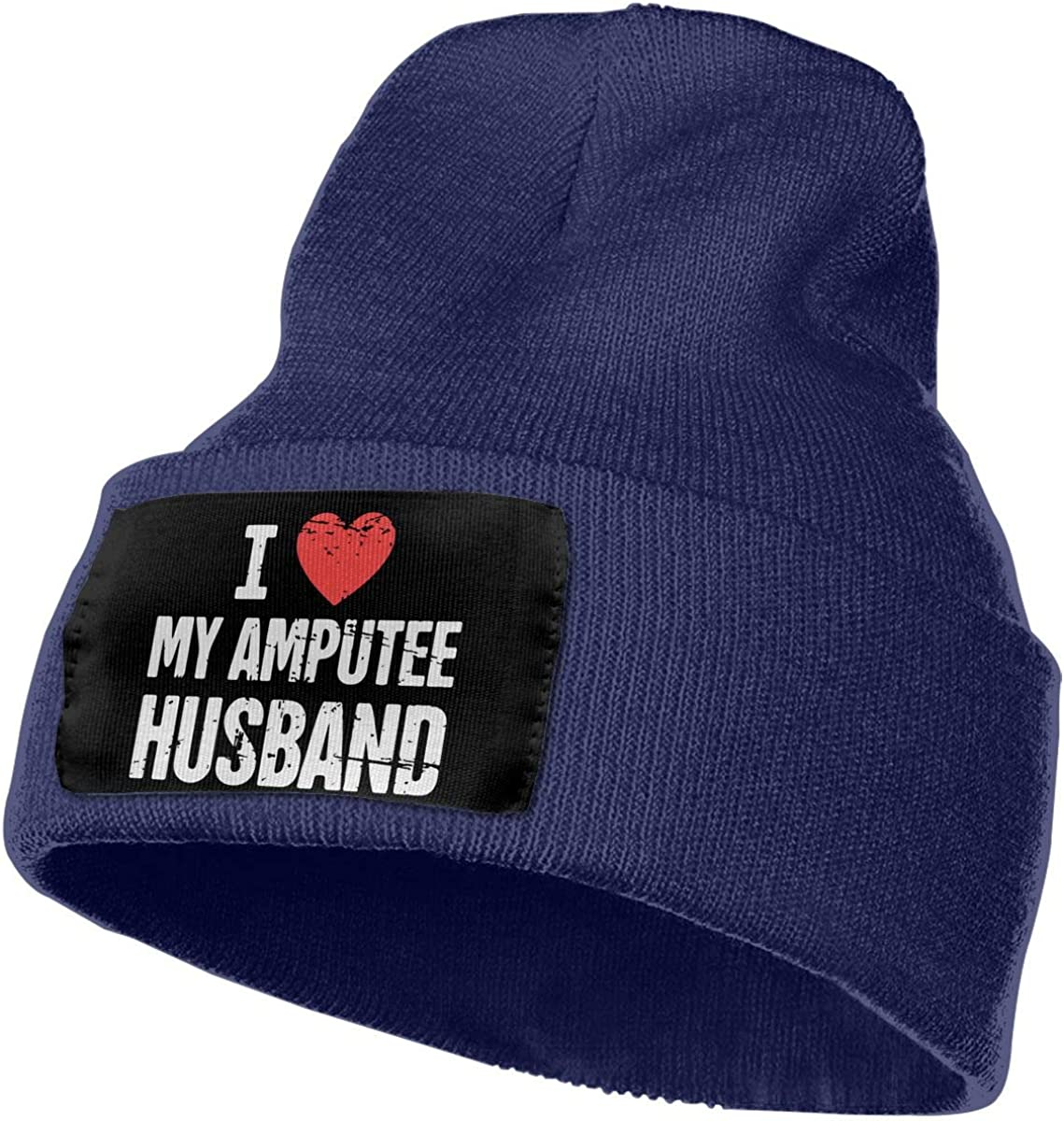 Unisex I Love My Amputee Husband Outdoor Fashion Knit Beanies Hat Soft Winter Knit Caps