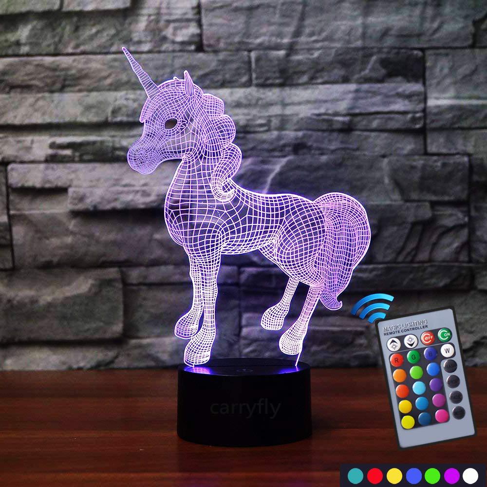 Carryfly unicorn night light kids night light optical illusion 7 colors change with remote birthday gifts for baby amazing light unicorn amazon co uk