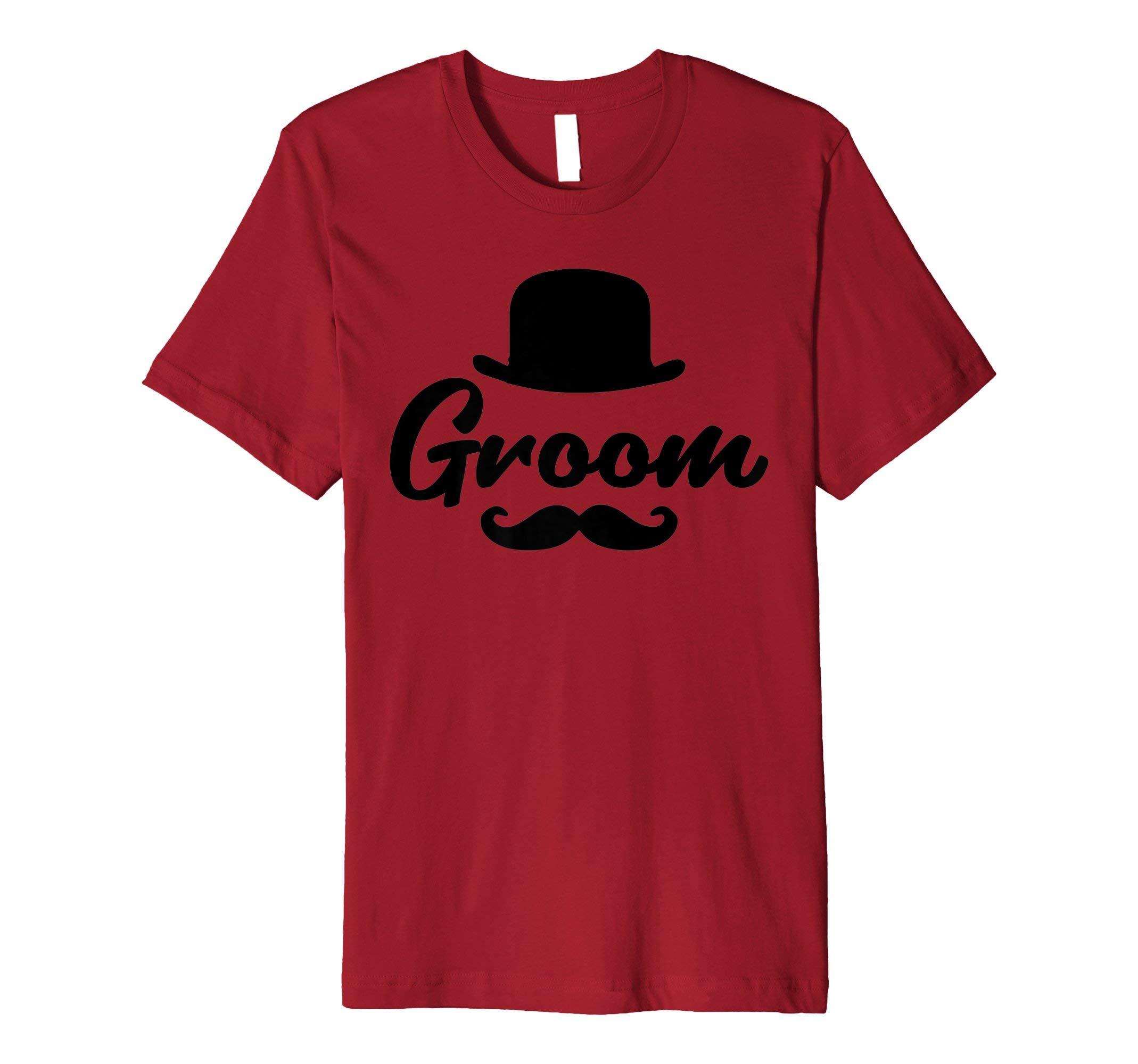 Wedding Shirt Groom Tees Men Boyfriend Husband Mustache Gift