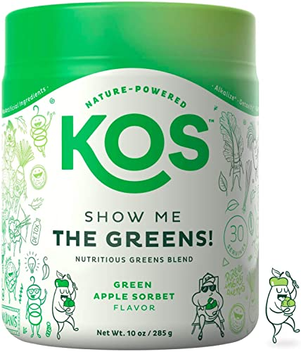 KOS Organic Greens Blend – Refreshing Green Apple Sorbet Flavor – Super Greens Powder – Immune Support, Aides Digestion, Alkalizing Formula – Spirulina, Wheatgrass, Chlorella – 30 Servings