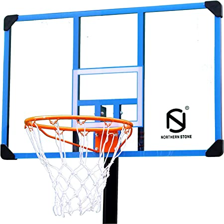 NORTHERN STONE Pro Cout Portable Basketball Hoop Stand System With Transparent Deluxe Poly Carbon Backboard and Spring Loaded Rim
