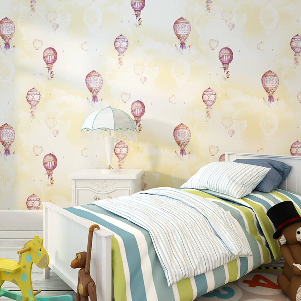 Kids room Non-woven wallpaper,Hot air balloon Girl Boy Bedroom Cartoon Environmental protection Wallpaper-C 0.53m10m(20.8x393.7inch)