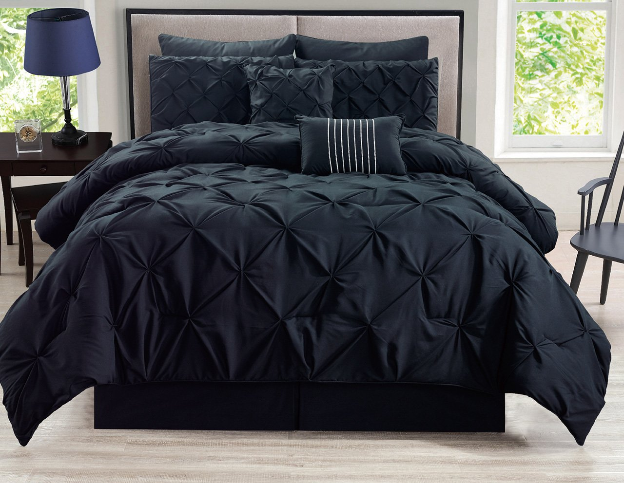 KingLinen 8 Piece Rochelle Pinched Pleat Black Comforter Set Queen - 8-Piece comforter set includes 1 comforter, 2 shams, 2 euro shams, 1 bedskirt, 1 breakfast cushion, 1 square cushion Comforter 90-inch by 92-inch, shams 20-inch by 26-inch, euro shams 26-inch by 26-inch, bedskirt 60-inch by 80-inch+15-inch, breakfast cushion 12-inch by 18-inch, square cushion 18-inch by 18-inch Comforter set fabric content: 100-percent polyester - comforter-sets, bedroom-sheets-comforters, bedroom - 71myCgp%2Bg%2BL -