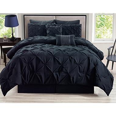 KingLinen 8 Piece Rochelle Pinched Pleat Black Comforter Set Queen