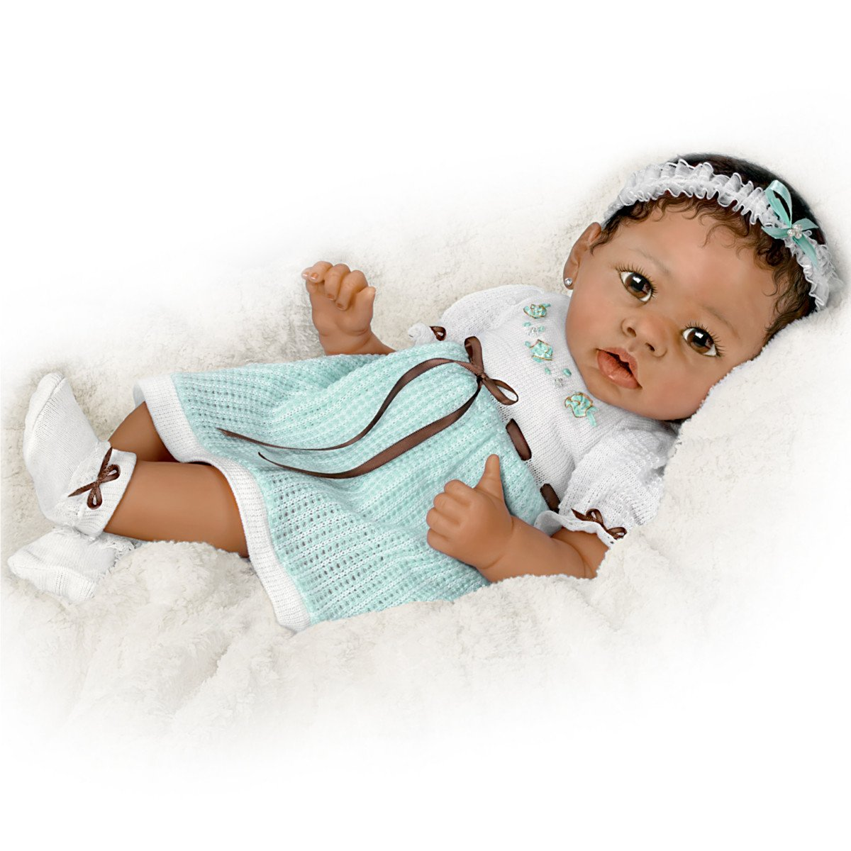 Alicia's Gentle Touch Curls Her Hand Around Your Finger So Truly Real® Lifelike, Interactive & Realistic African-American Newborn Baby Doll 22-inches by The Ashton-Drake Galleries