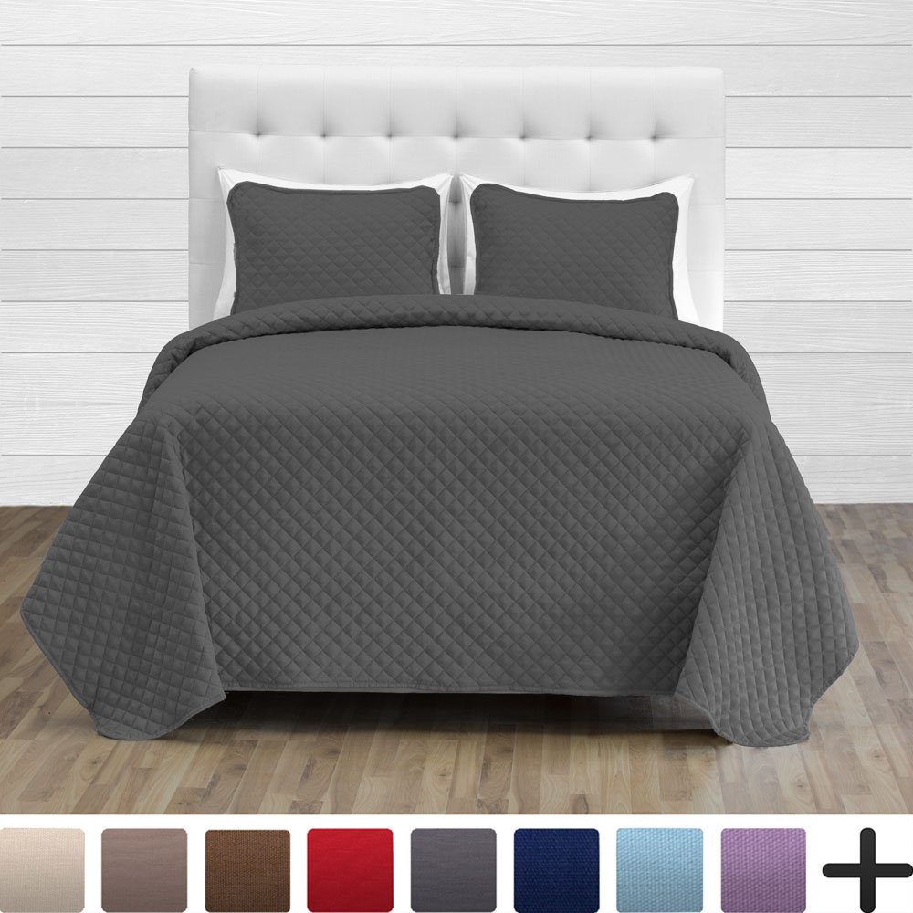 Bare Home Premium Diamond Stitched 2 Piece Coverlet Set - Ultra-Soft Luxurious Lightweight All Season Bedspread (Twin/Twin XL, Grey)