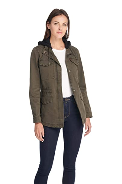 Levis Womens Cotton Military Jacket with Removable Fleece Hood