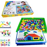 LiCB 296 Pcs Pile up Toys Diy Science kids Mushroom Nails Mosaic the Composite Picture Jigsaw Puzzle Game Creative Mosaic Pegboard Educational Toys for Children (Random Colors)
