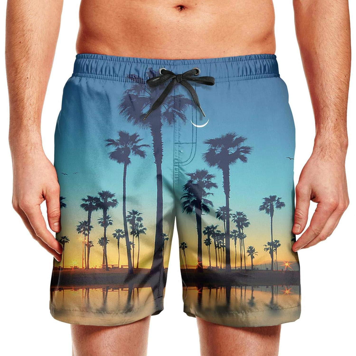 YIWNG Adult Mens Beach Trousers Beach Sunset with Palm Trees Casual Trail Running Shorts