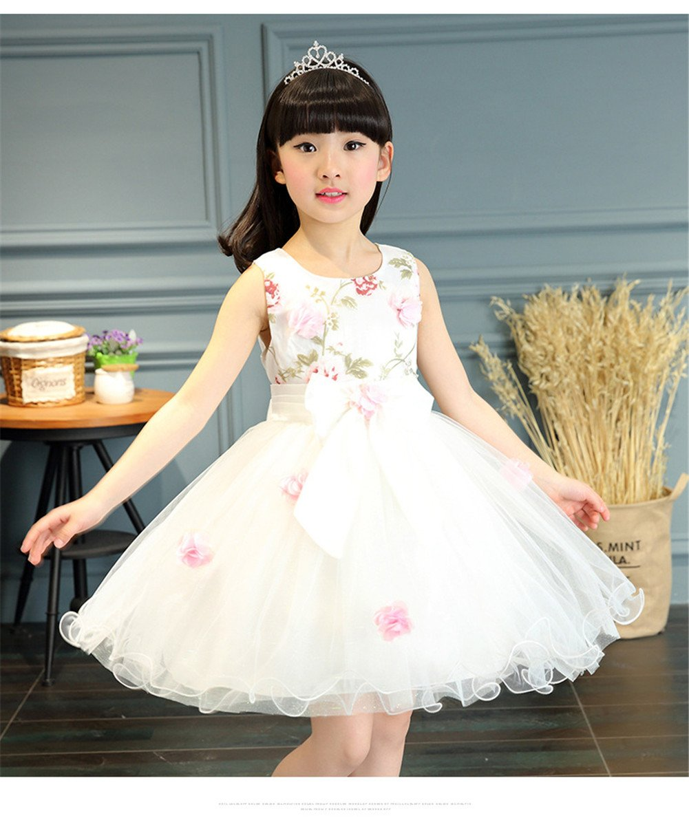 FTSUCQ Girls Floral Printed Bowknot Twirling Princess Dress (120(6-7Y), White) by Dillian Dress (Image #5)
