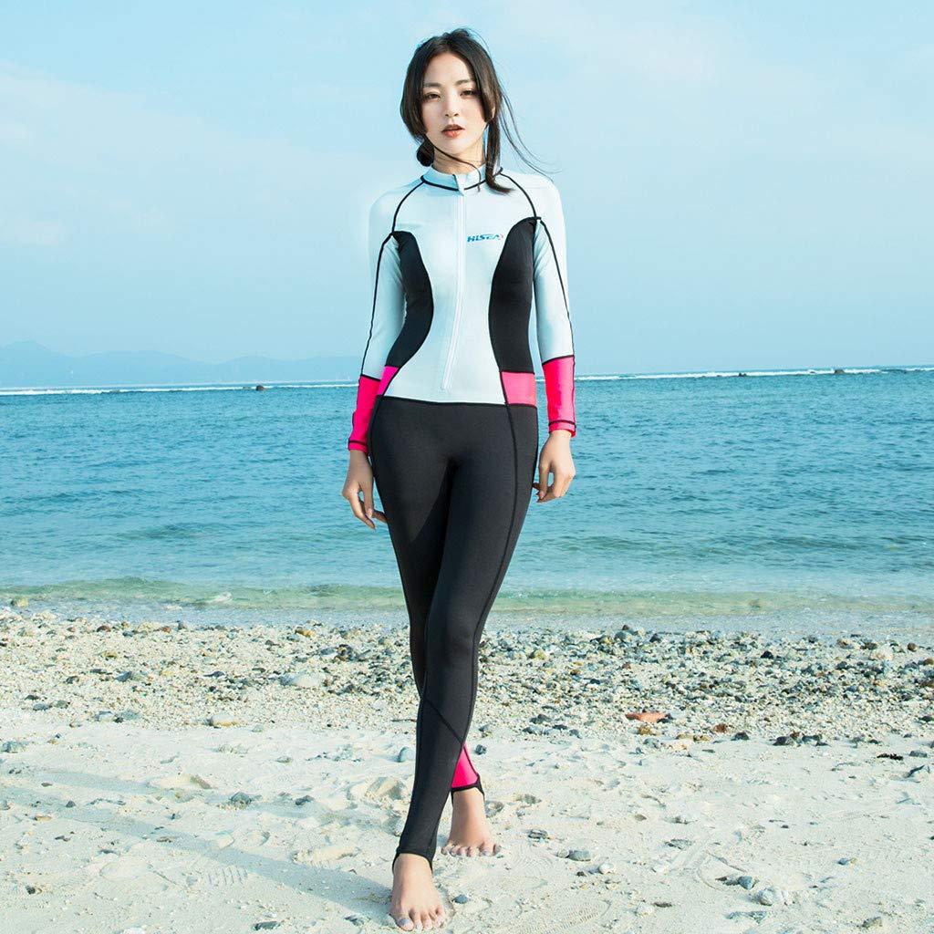 YEZIJIN Women 0.5mm Neoprene Long Sleeve Diving Wetsuit Spearfishing Suit Swimwear Wetsuit top Long/Short Sleeve Sky Blue by Yezijin_Swimsuit (Image #4)