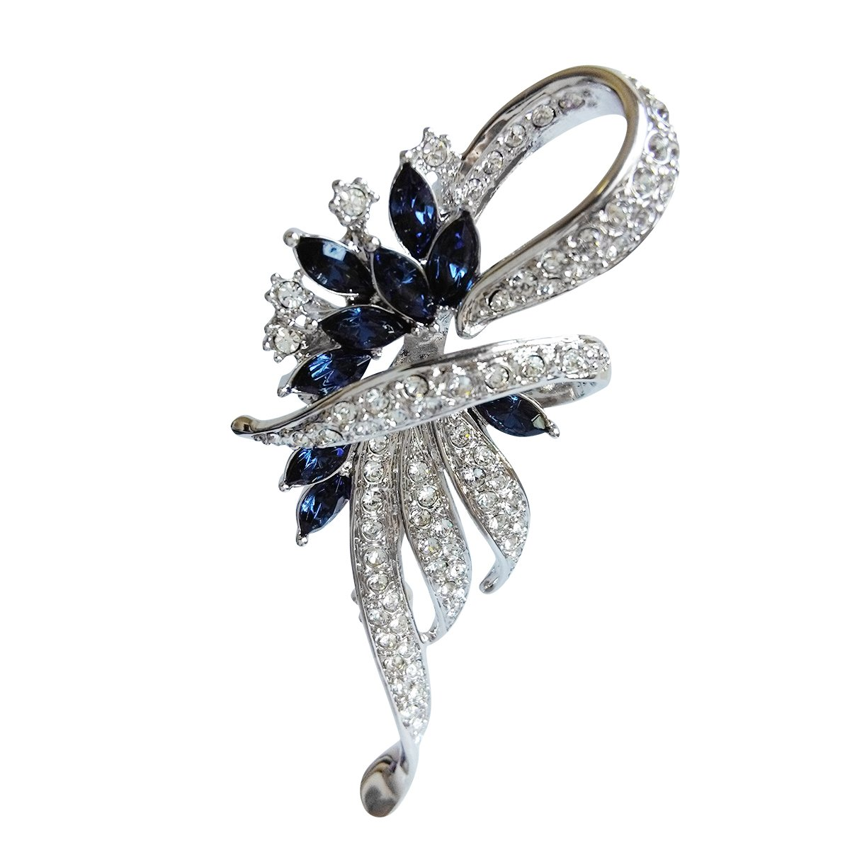 Brooches For Women Girls Ladies Vintage Brooches And Pins For Wedding Brooch Bouquet For Coat Suit Scarf Hat Blue Flower Brooch With Platinum Plated Premium Quality Gift
