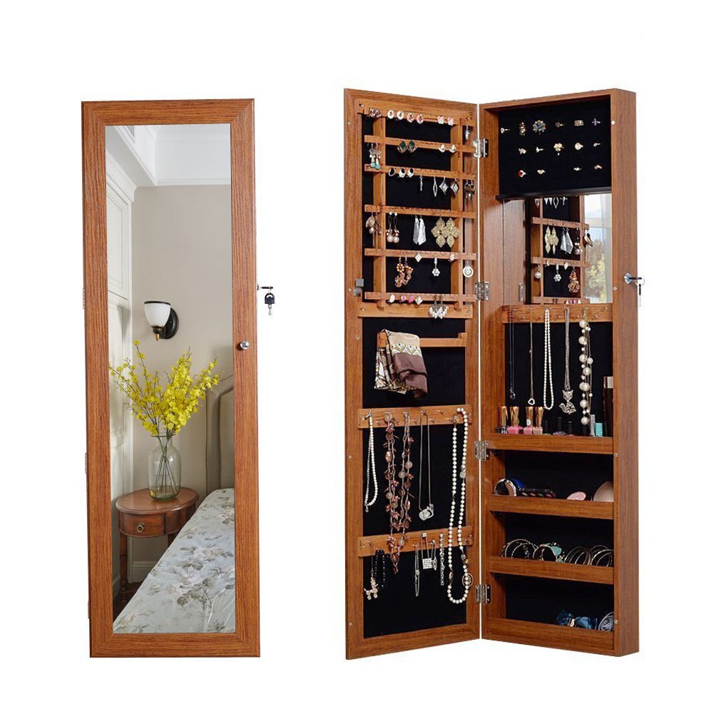 Organizedlife Oak Mirrored Jewelry Cabinet Case with Lock Wall/Door Mount