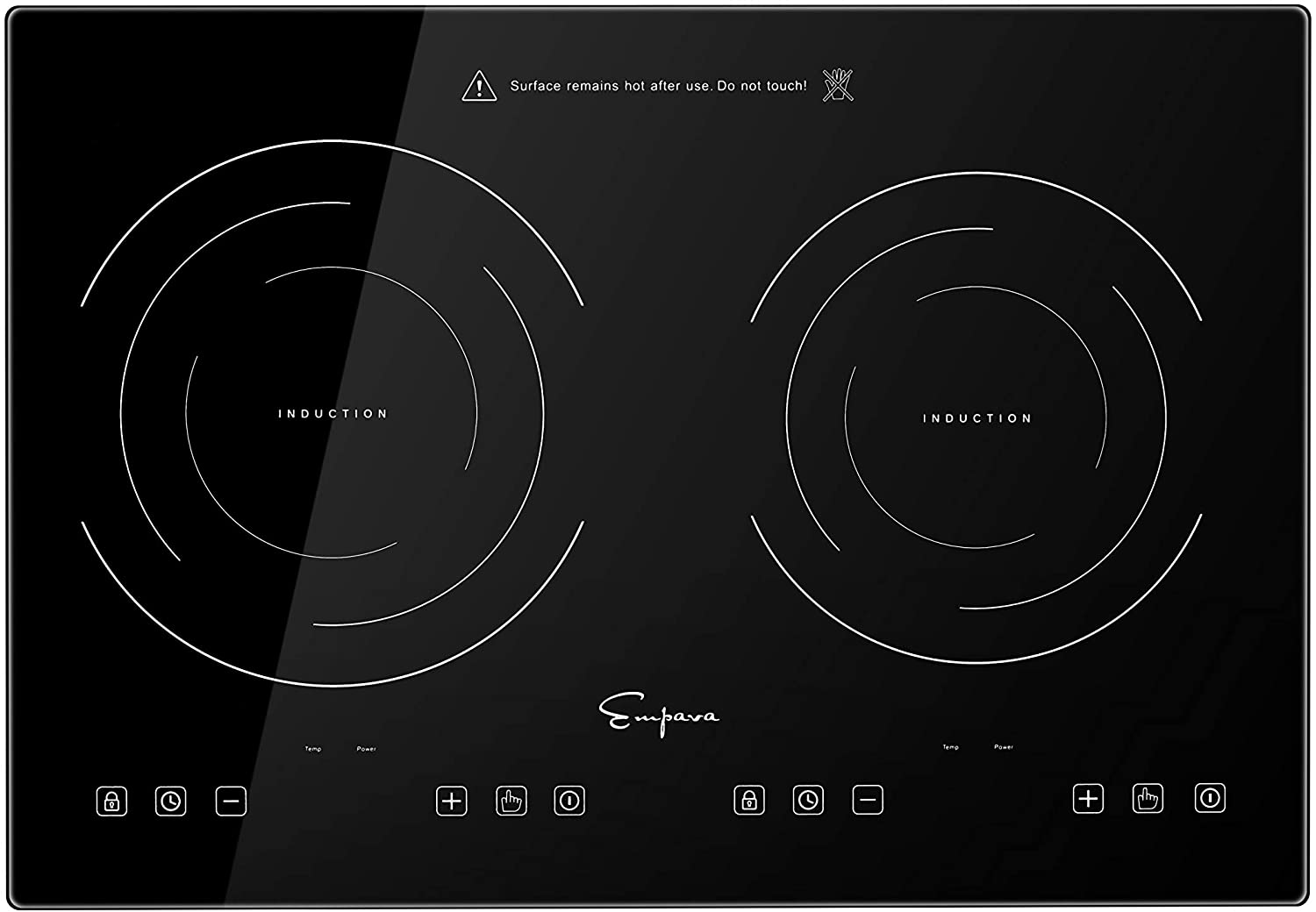 Empava Electric Stove Induction Cooktop Horizontal with 2 Burners in Black Vitro Ceramic Smooth Surface Glass 120V