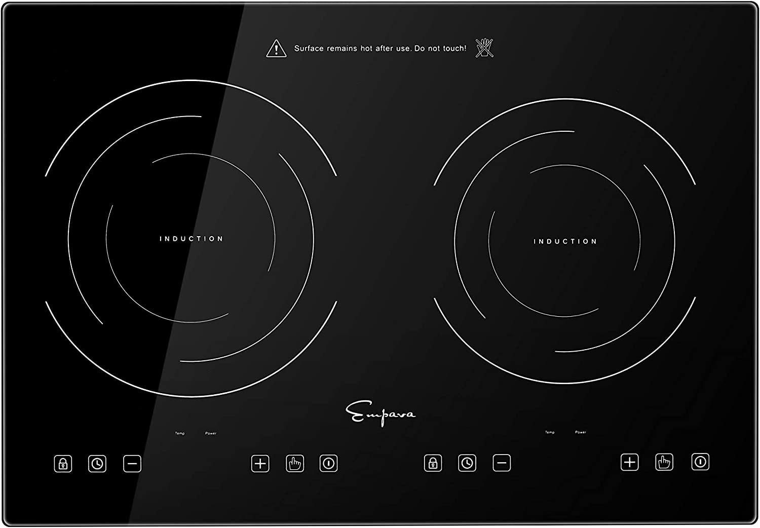 Empava Electric Induction Cooktop Stove with Dual Burners in Black Vitro Ceramic Smooth Surface Glass 120V, 12 Inch