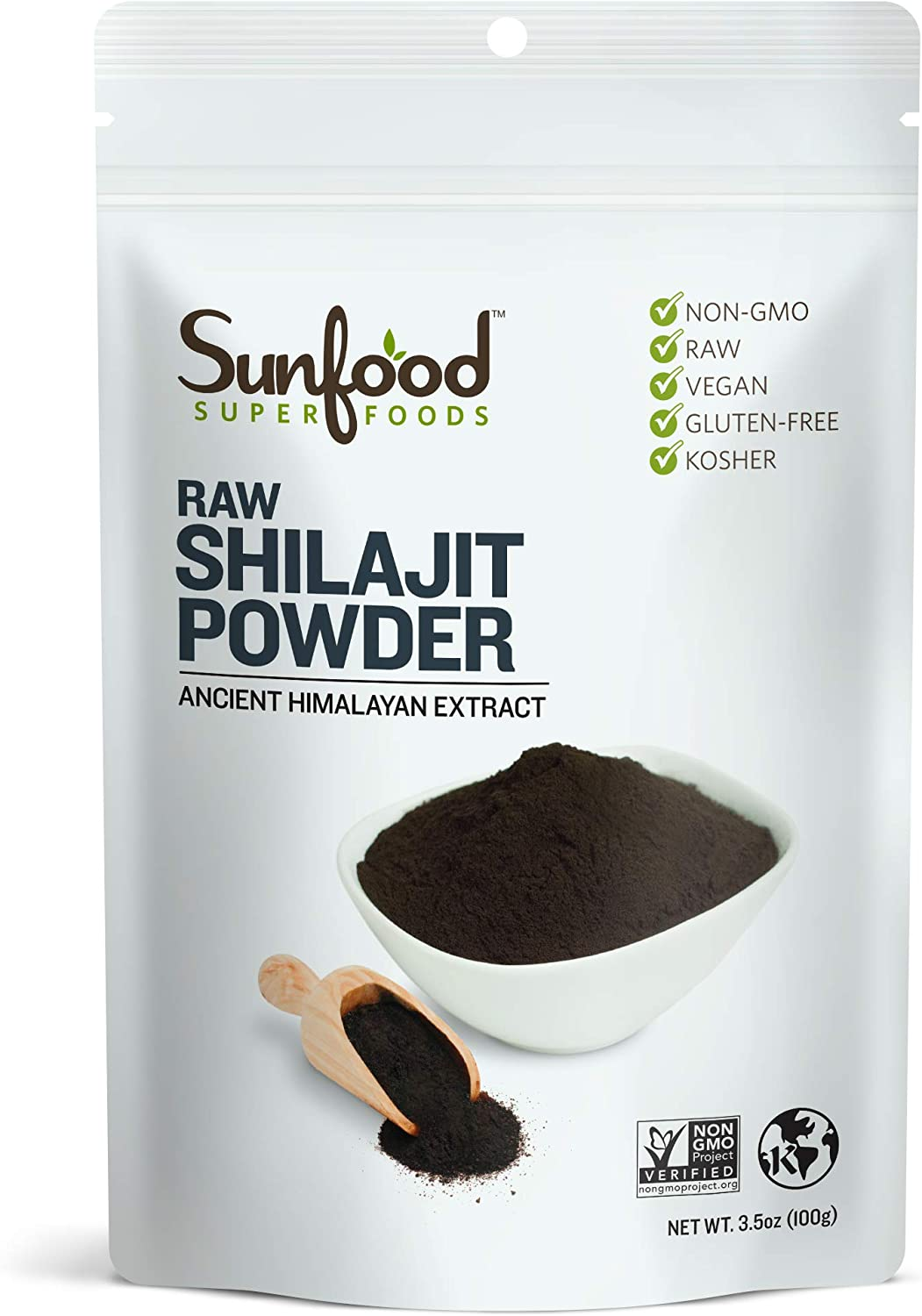 Sunfood Superfoods Shilajit Powder. Potent Adaptogenic Herb. Purest Highest Quality Product. Hand Harvested from High Altitude Himalayan Mountains. Nutrient Rich- Fulvic Acid, Iron. 3.5 oz Bag