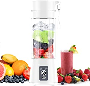 TopAufell Portable Blender,Personal Blender White,380ML Mini Blender for Shakes and Smoothies with Six Blades in 3D,USB Rechargeable Personal Size Blender Suitable for Travel,Gym,Outdoor Sports