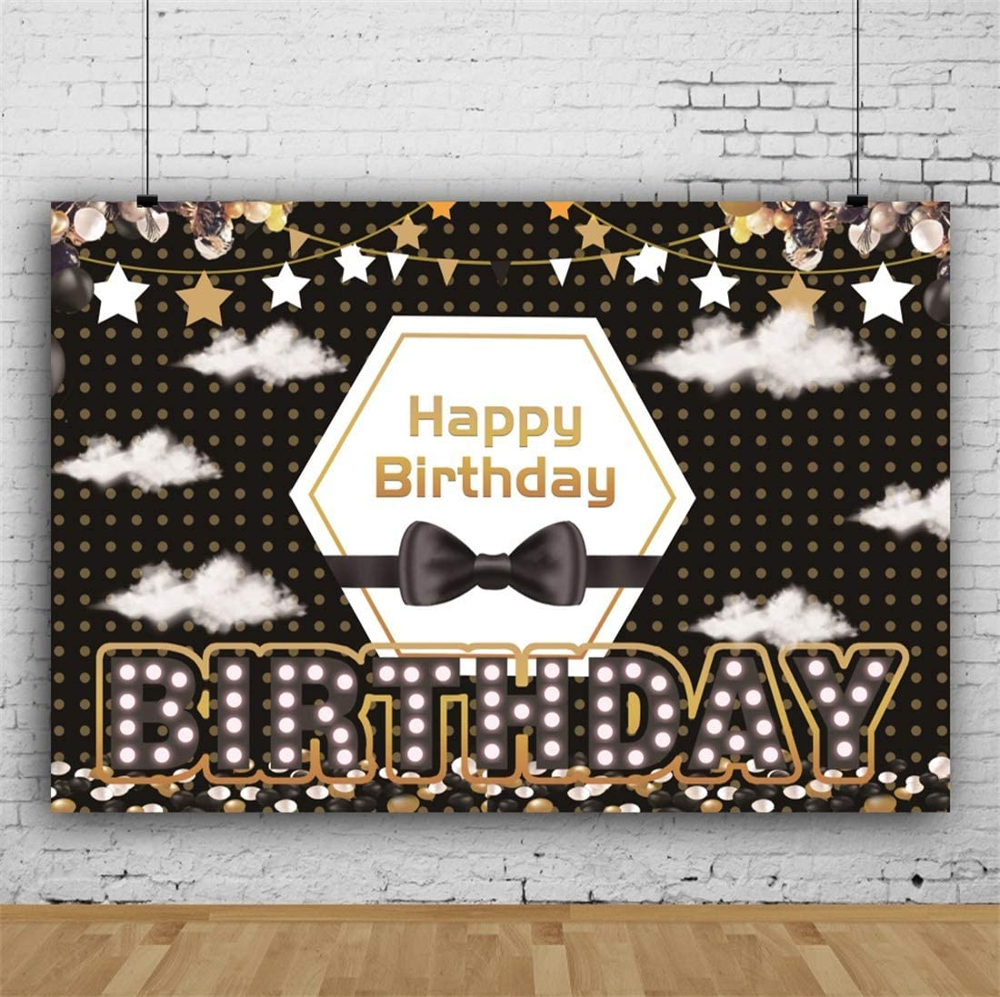 Yeele Birthday 5x3ft Photography Background Birthday Party Decoration Colorful LED Lights Stage Gentleman Bow Hanging Ornament Photo Backdrop Baby Child Portrait Shooting Studio Props Wallpaper