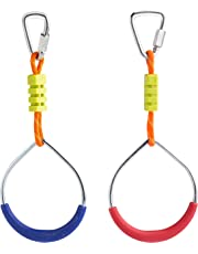 Cateam Ninja line Accessories – Multicolor Gymnastic Rings Set of 2 with carabiners – Monkey bar Rings for Backyard Obstacle Course