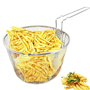 "9"" Medium Stainless Steel Deep Fry Basket Round Wire Mesh French Chip Frying Serving Food Presentation Tableware With Detachable Handle Fit For Up To 5/6L Pot"