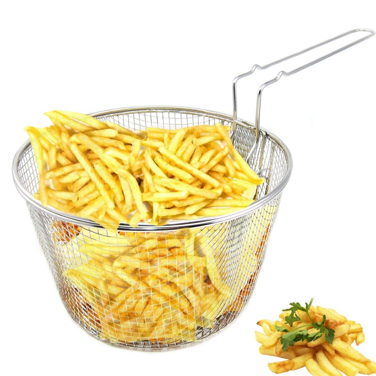 9'' Medium Stainless Steel Deep Fry Basket Round Wire Mesh French Chip Frying Serving Food Presentation Tableware With Detachable Handle Fit For Up To 5/6L Pot