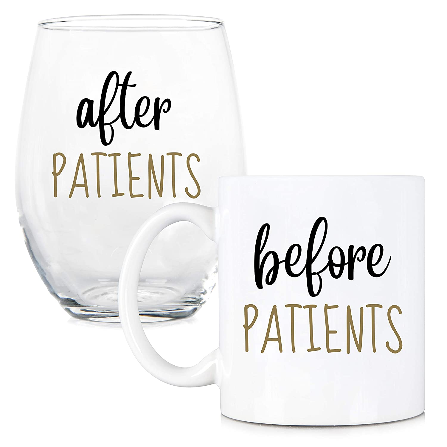 Before Patients, After Patients 11 oz Coffee Mug and 15 oz Stemless Wine Glass Set - Unique Gift Idea for Dentist, Dental, Medical, Hygienist, Doctor, Physician, Nurse - Perfect Graduation Gifts