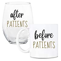 Before Patients, After Patients 11 oz Coffee Mug and 15 oz Stemless Wine Glass Set...