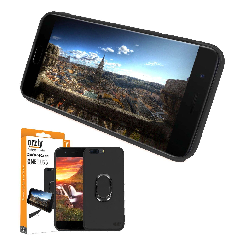 ORZLY® Funda Ultra-Fina OnePlus 5, Carcasa Protectora Slim-Stand [Anti-Arañazos] para el OnePlus 5 en Negro con Stand Integrado en Forma de Anillo ...
