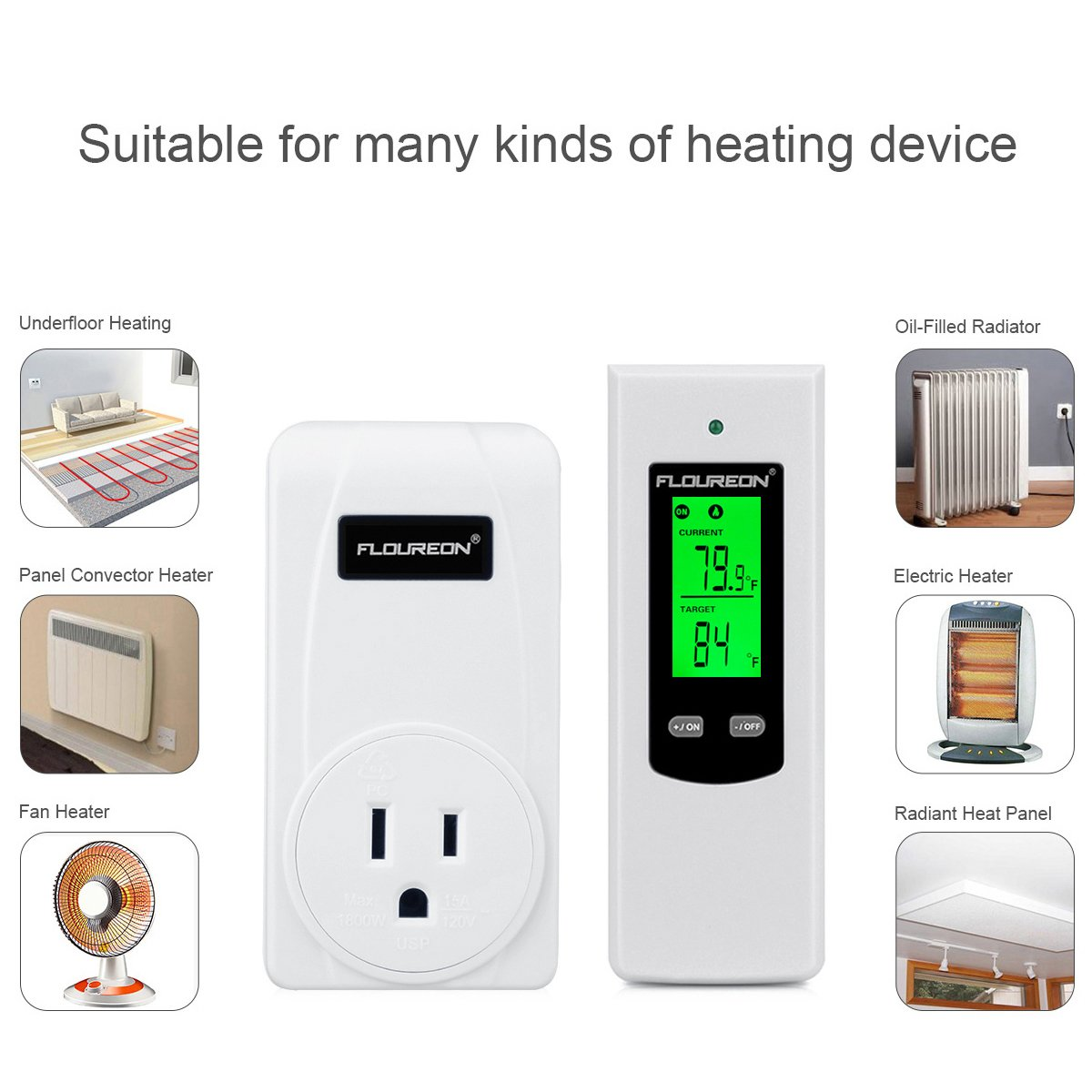 Thermostat Plug Wireless Thermostat RF Plug Thermostat Controller Support Heating and Cooling Temperature Controller with LCD Display Backlight (White) ...
